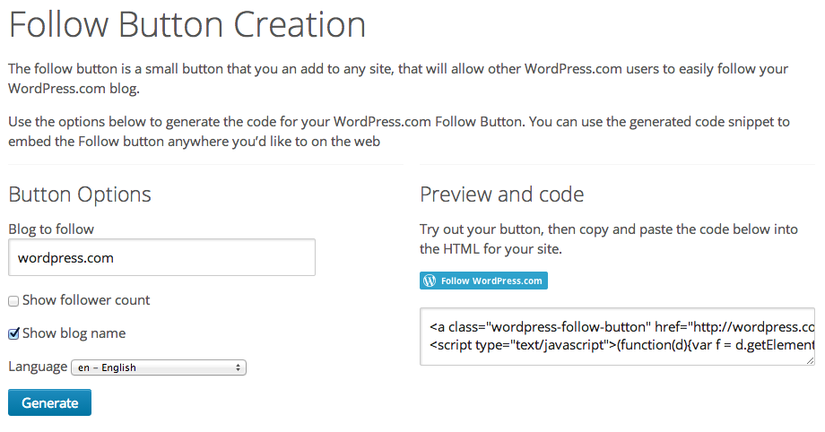 External Follow Button — Support — WordPress com