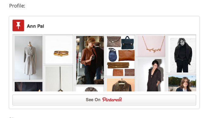 Inserción de contenido con Pinterest