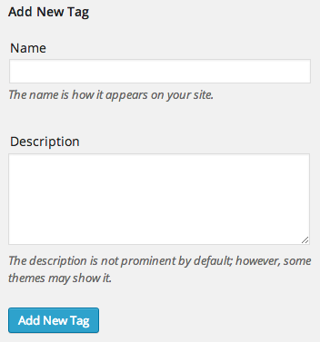 WP Admin - Add New Tag