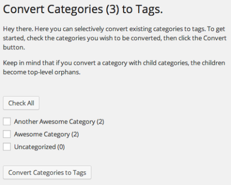 Convert Categories to Tags