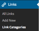 Links options with Link Categories highlighted