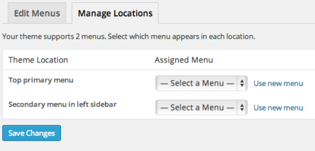 Manage Menu Locations