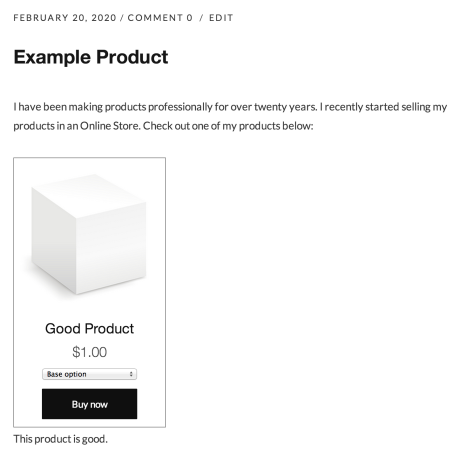 Example of a Shopify product embedded in a post on WordPress.com