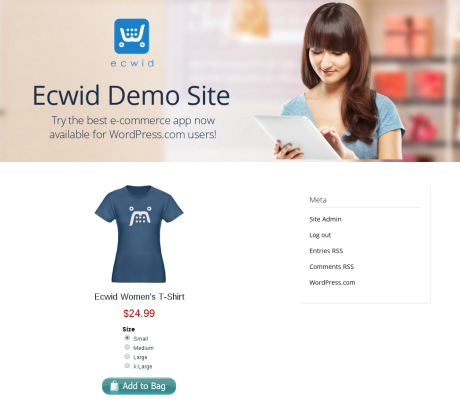 Example of an embedded Ecwid product