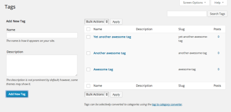 WP Admin - Tags screen