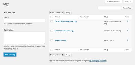 WP Admin – Schlagwortbildschirm