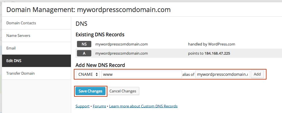 Point a WordPress.com Domain to GoDaddy - Support - WordPres