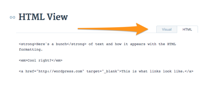 image of html view in editor