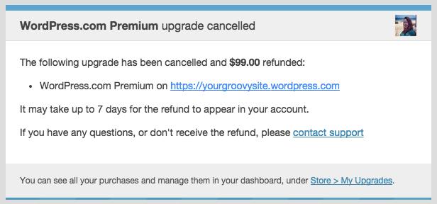 تأكيد استرداد الأموال عن طريق البريد الإلكتروني