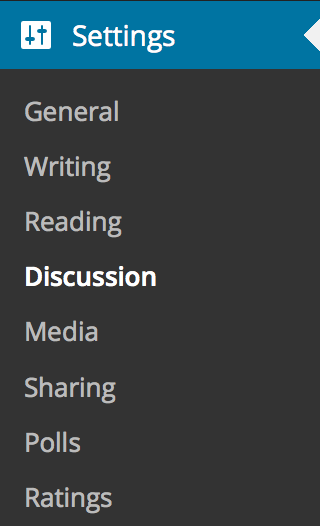 Screenshot of the wp-admin sidebar under the Settings label