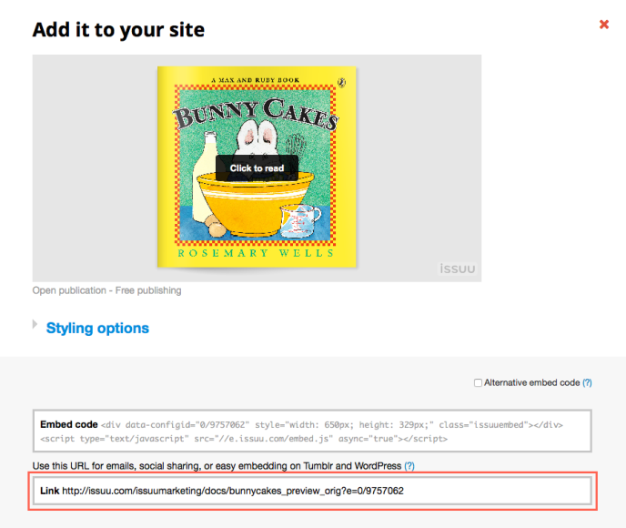 Image showing the Issuu interface and the embed link