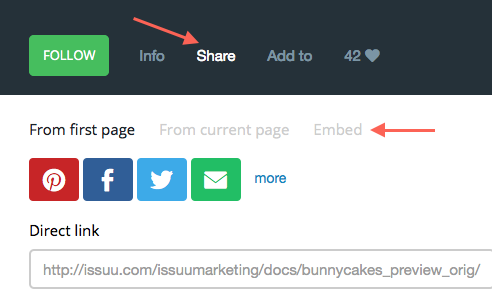 Image showing the Issuu interface and Share and Embed buttons