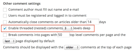 Other comment settings - threaded comments