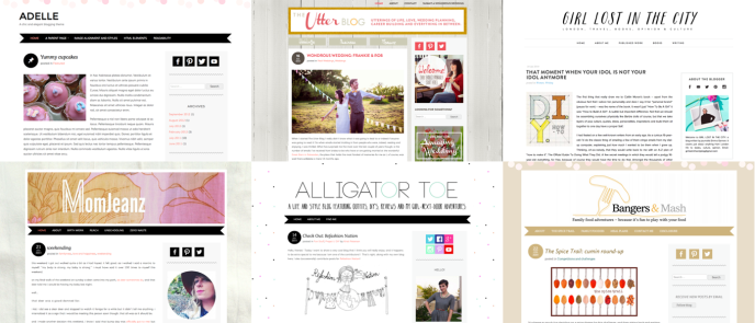 Each of these sites uses the same free theme, Adelle. Add a few personal touches to give your theme a custom look.