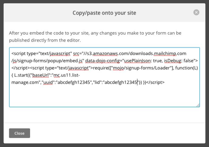 MailChimp codice della copia