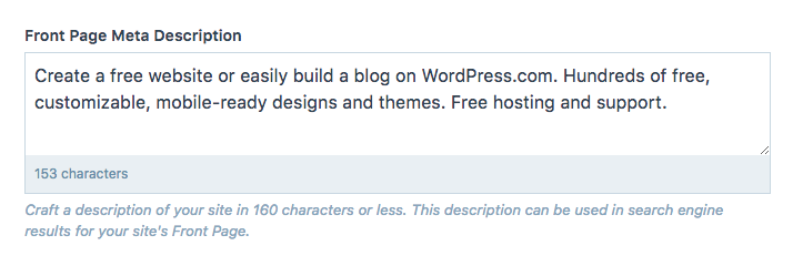 The Front Page Meta Description section allows you to type the description in and it will show how many characters you've used.