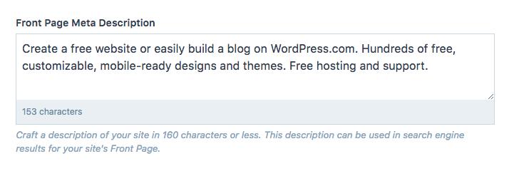 Description des métadonnées de la page d'accueil