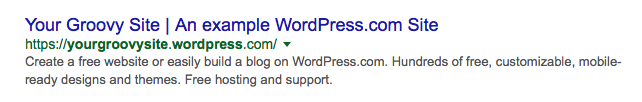 Example of a front page meta description. Preview of the Google Search Snippet includes site title, domain, and excerpt.