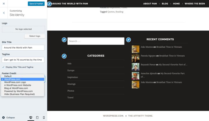 Customizer - footer credits screenshot