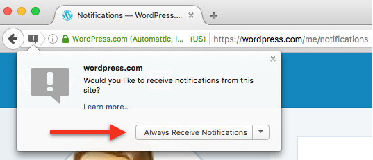 Firefox browser notifications permission prompt