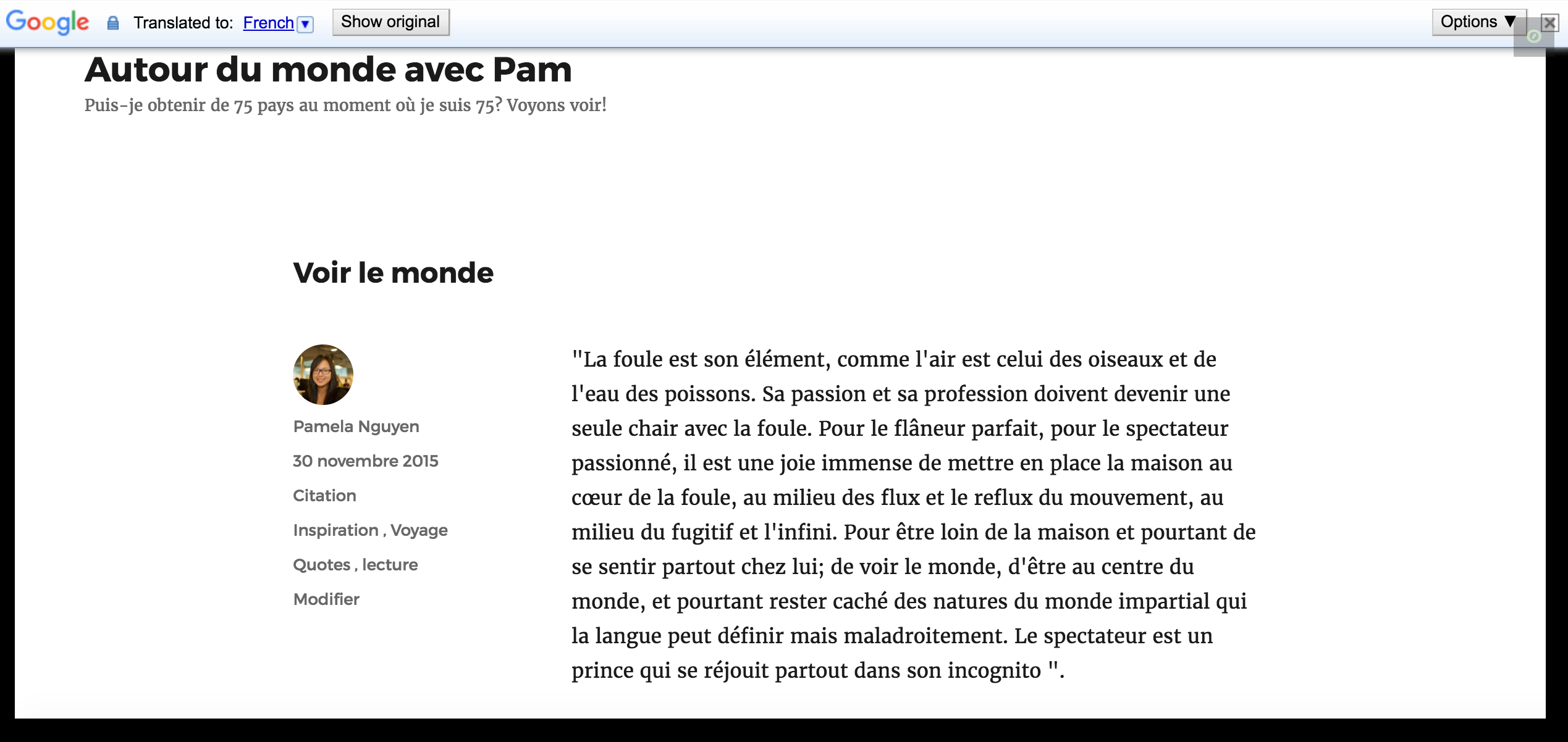 The same blog post, translated into French with the Google Translate Widget.