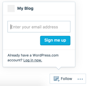How it looks for someone following a site without a WordPress.com account