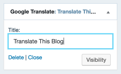 Google translate widget support wordpress add a custom title for the widget stopboris Choice Image