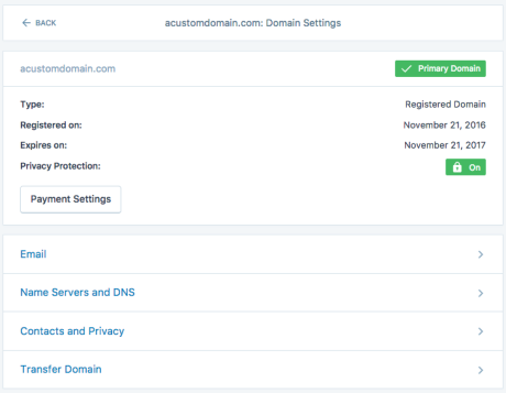 Domain options screen