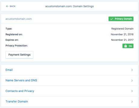 Domain-Optionsbildschirm