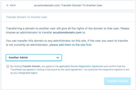 Informationsbildschirm für die Übertragung der Domain-Inhaberschaft