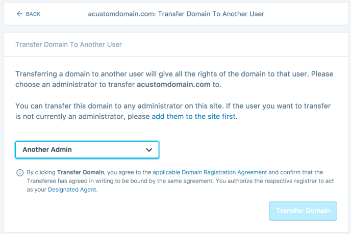 Transfer domain ownership information screen