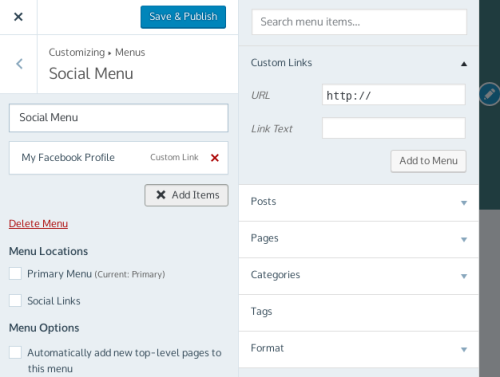 Add a Social Links Menu — Support — WordPress.com