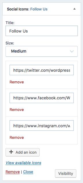 Social Icons Widget — Support — WordPress.com