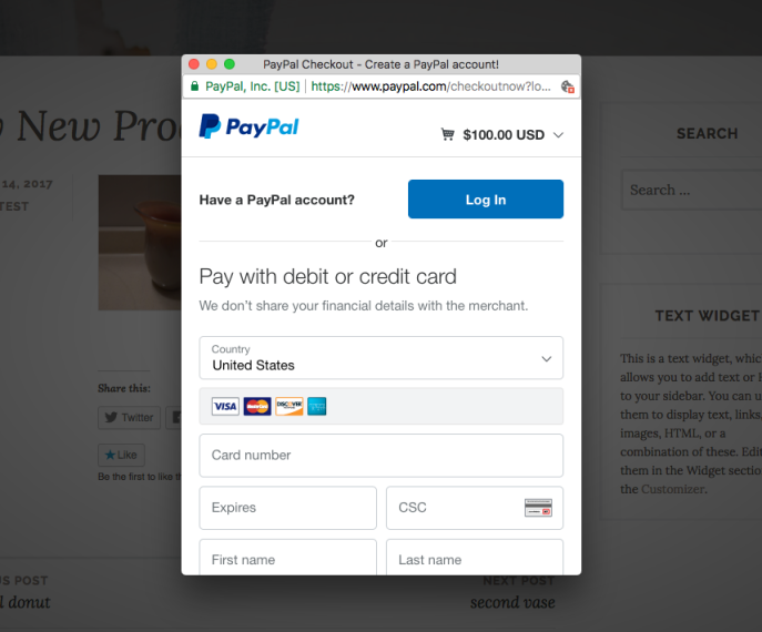 The PayPal checkout screen.