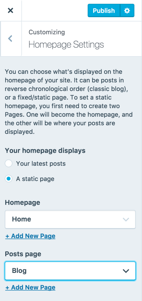 The settings screen at Customize → Homepage Settings with a Posts page selected.