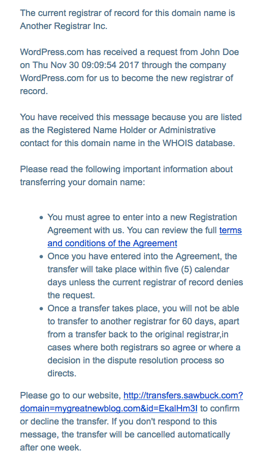 Transfer authorization email