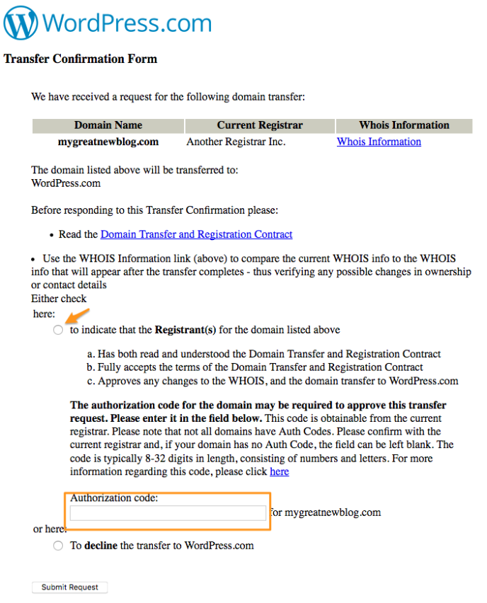 Transfer authorization form