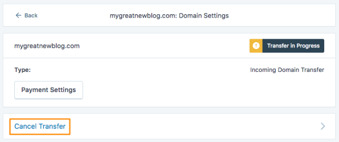 Domains– Transfer abbrechen
