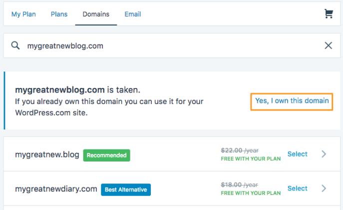 Domain search screen