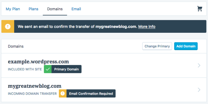 Domains - transfer confirmation required