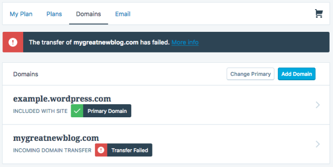Domains– Transfer fehlgeschlagen