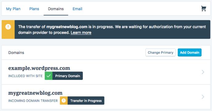 Domains - transfer in progress
