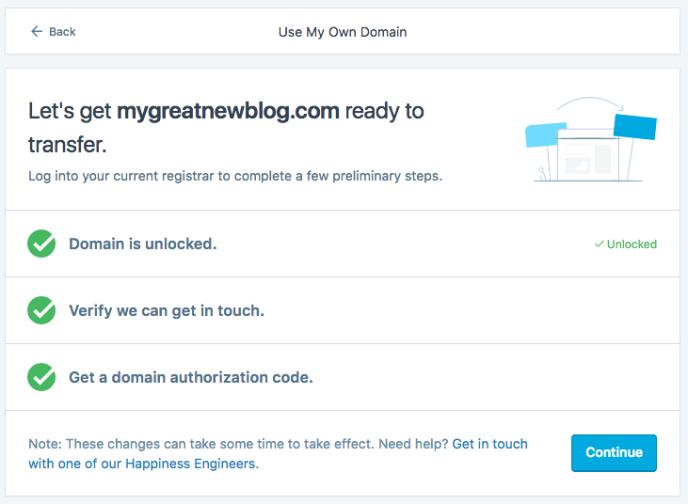Domain prepared for transfer