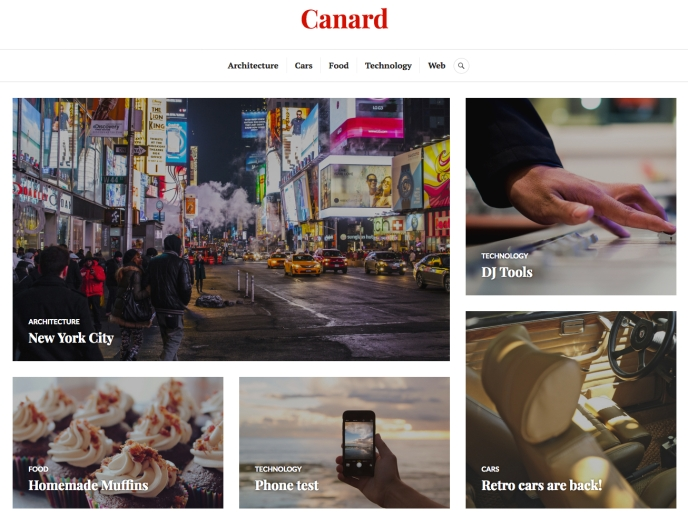 Featured Content grid Canard theme