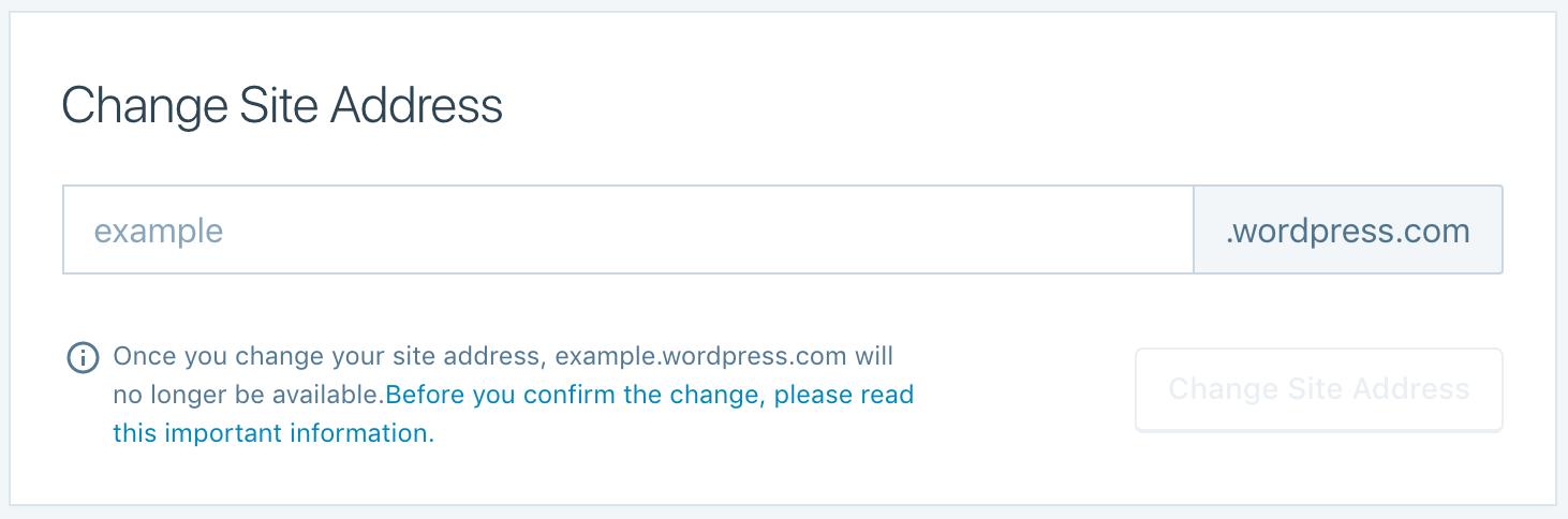 Change a Site Address — Support — WordPress.com