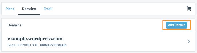 Add domain button