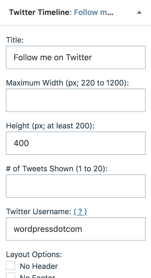 """16dc84bf44 Click to expand the widget settings, and add your Twitter username under """" Twitter Username."""""""