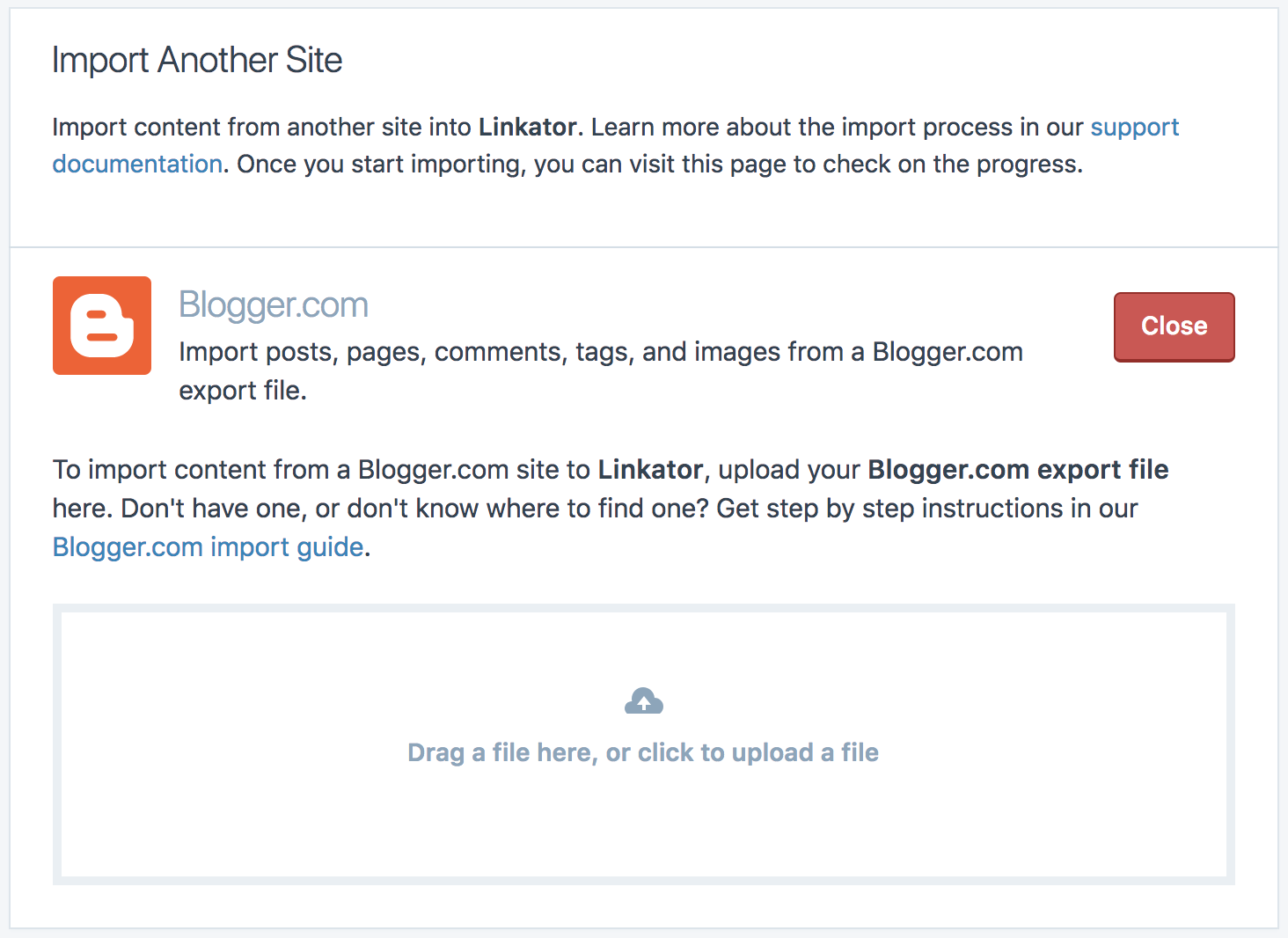 Import From Blogger Support Wordpress
