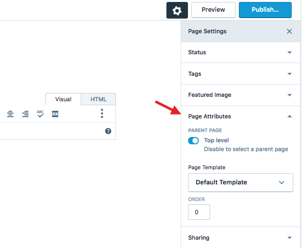 page attributes support wordpress com