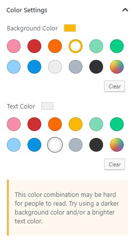 A seção de cores notifica sobre dificuldades visuais.